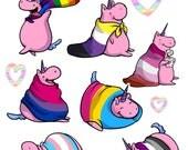 Pride Unicorn Stickers