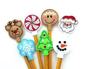 Christmas Pencil Topper Set, Christmas Pencil Toppers, Felt Pencil Toppers, Classroom Treat Bag, Party Favor, School Party, Christmas Party