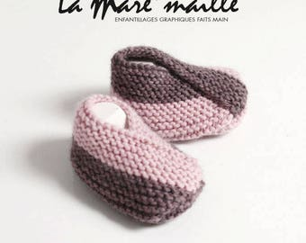 Pink and purple knitted wool baby booties hand de La Mare' mesh