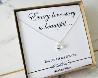 Sterling silver dainty necklace with Swarovski crystal pearl, Heart Pendant, Valentines Day, Gift for Her, Love Necklace, Present for her