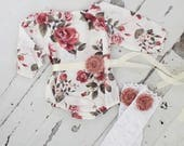 Summer Boho Chic Floral Shoulder Romper Sash & Headband. Newborn Baby Girl Coming Home Outfit, 1st Birthday Outfit Mommy Me Picture