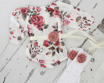 Valentine's Day Boho Chic Floral Shoulder Romper Sash & Headband. Newborn Baby Girl Coming Home Outfit, 1st Birthday Outfit Mommy Me Picture