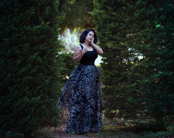 Animal Print Maxi Skirt, Long Skirt Fairy Fantasy Nymph Butterfly Black and white costume dance boho summer fashion