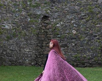 Cloak Burnout Velvet Dark Pink Cape Fairytale Fantasy Witch with hood Elven style