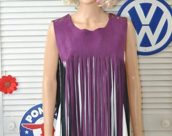 Vintage 60s-70s Faux Suede Leather Fringed Vest Top Overlay Hippie Boho Purple Theater Costume Womens  Adults Teens One size accessory