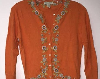 Vintage Girl's Cardigan Sweater By Lucky Brand Size S Orange Floral RN#80318