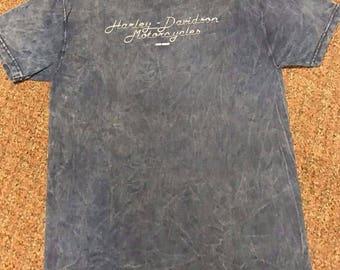 Vintage Men's Harley Davidson Shirt Sz L Blue Jamestown New York NY 100% Cotton