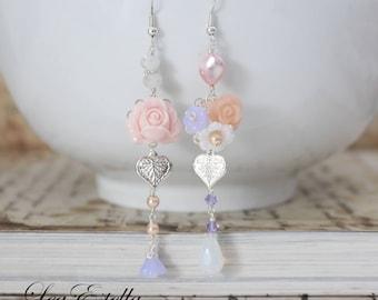 Pink Mismatched earrings Boho flower earrings Asymmetrical earrings Garden earrings Pink floral earrings Fairy earrings - Enchanted Garden