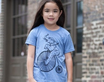 Elephant And Bicycle On Blue Tri Blend Youth T Shirt Sm Med Lg