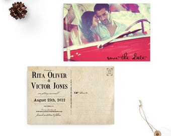 """Rustic save the date postcard, 4x6, Save the Date, the """"Rita"""""""