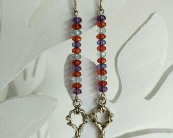 Earrings Sterling Silver Ear Wires, Czech Glass Beads, Key Charms, Silver Plated