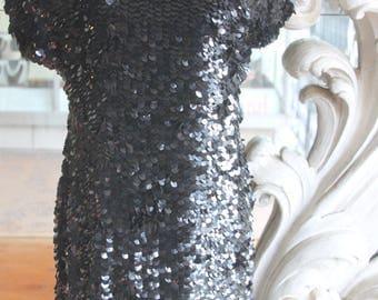 Vintage 1980s - 1990s Little Black Sequinned Dress NOS New Old Stock