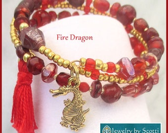Multistrand Coil Bracelet Gold Dragon Charm Memory Wire Cotton Tassel Red Glass Year of the Dragon Tassel Jewelry One Size Fits Most