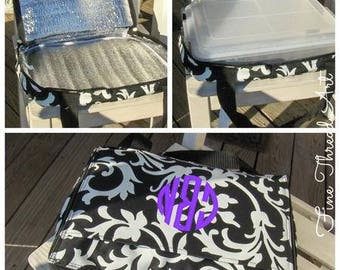 CLEARANCE Casserole Carrier Black and White Floral Damask with Monogram or Name