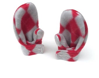 Toddler Girl Mittens -  Scarlet and Gray Argyle - Toddler Mittens -  Fleece Wrap Mittens
