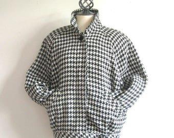 Vintage 1980s Houndstooth Coat Mister Leonard Len Wasser 80s Black White Wool Blend Bomber Jacket 8