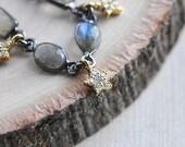 Labradorite Choker, Star Choker, Labradorite Jewelry, Star Jewelry, Gold Star Necklace, Star Necklace, Celestial Necklace, Birthday Gift
