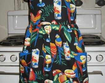 Parrots and Tropical Drinks Ladies Tiki Halter Apron