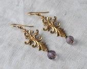 RESERVED for D, Vintage Brass Flourish Earrings, Brass Stamping, Amethyst Glass Bead Earrings
