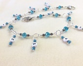 Hanging Chain Style Row Counter- Aqua Blue Beaded Number Stitch Markers- Gift for Knitters