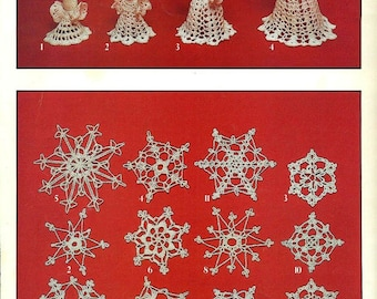 Crocheted SNOWFLAKES and ANGELS 1983 Booklet of Designs to CROCHET Leisure Arts 255
