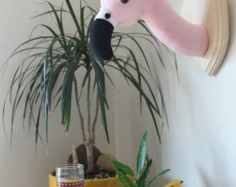 Tropical Pink Flamingo Faux Taxidermy Wall Mounted Head for Nursery