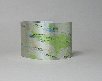 Amphitheater Lake Trail Grand Teton National Park Wyoming Map Cuff Bracelet Unique Hiking Gift for Men or Women