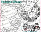 NEW! Teddy Bear Valentine Wreath - whimsical original art digi stamp by Leigh Snaith-Brunton of LeighSBDesigns