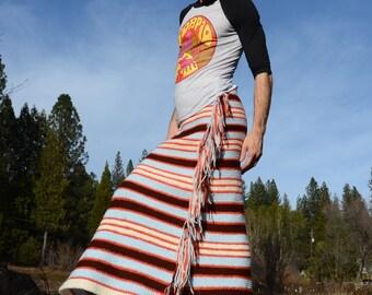 Crochet Skirt Side Fringe and Stripes