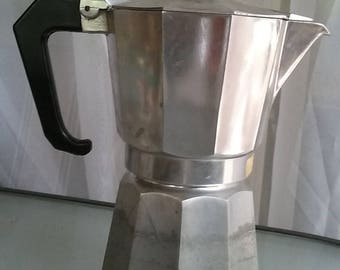 Italian Espresso Coffee Maker, Vintage Coffee Maker, Made in Italy, Stove Top Coffee Maker, Metal, Bakelite Handle, Complete