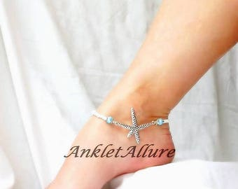 Anklet Starfish Anklet White Beach Anklet Cruise Ankle Bracelet Starfish Jewelry Beach Creature Anklet Foot Jewelry