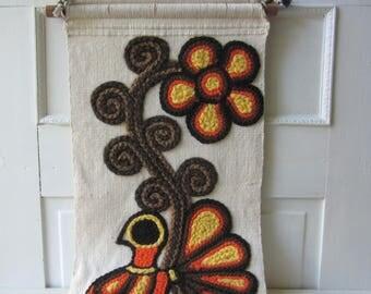 "Vintage Textile Wall Hanging - Floral Vine Bird Design w/ Fringe - 1970s Boho Hippie Wall Art -  17"" x 50"""