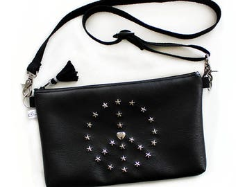 Peace and Love Shoulder Bag - Black Vegan Leather Peace and Love Logo Stars Studded and Tassel