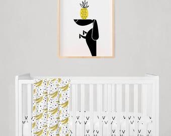Dachshund Art Print, Tropical Wall Art, Black White Nursery Art, Fun Girl Boy Room Wall Art, Playroom Art, Doxie Art Gift, Pet Dog Lover Art