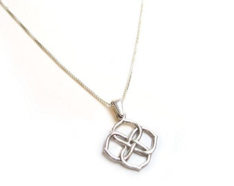 Unique silver pendant necklace, Infinity Knot Pendant,gift for her, Boho, Valentines day gift, handmade