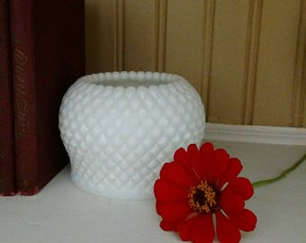 Vintage Milk Glass English Hobnail Ivy Rose Bowl by Westmoreland Glass