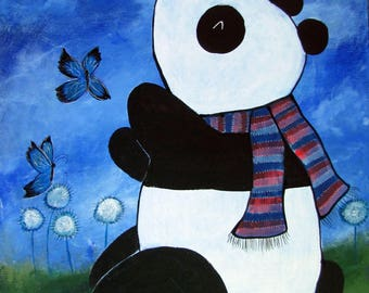 Panda Bear and Butterflies Original Dragon Nursery Kids Wall Art Acrylic Painting Storybook Playroom Decor Artwork for Children Whimsical