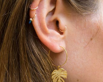 Monstera -earrings (small halo hoop earrings minimal every day 16K gold plated)