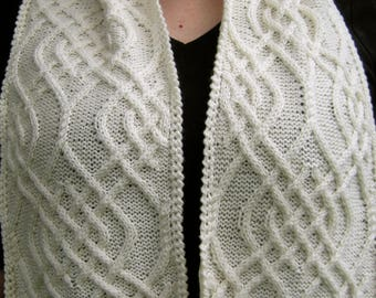 Knit Scarf Pattern:  Kursk Cabled Turtleneck Scarf Knitting Pattern