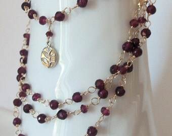 Extra Long Rhodolite Garnet Natural Gemstone Wire Wrapped Handmade Necklace on Gold Fill