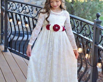 lace girl dress, flower girl dress, flower girl lace dresses, long sleeve dress, country lace dress, cream toddler dress, ivory lace dress
