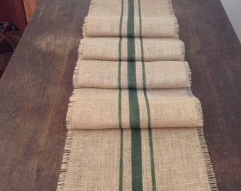 Burlap Grain Sack Table Runner 12-14x120 Woodland Green Rustic Table Decor by sweetjanesplan