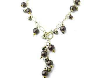 Swarovski Crystal Brown Pearl Necklace with Vermeil Fancy Chain Y Necklace