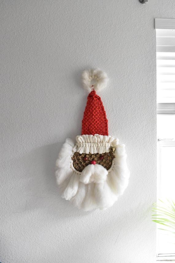 "32"" large hanging jute macrame santa head wall hanging fiber art"