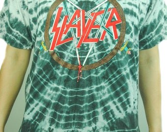 Vintage SLAYER shirt 1990 Tye Dye Slayer shirt Slayer Tee Concert shirt Band tee