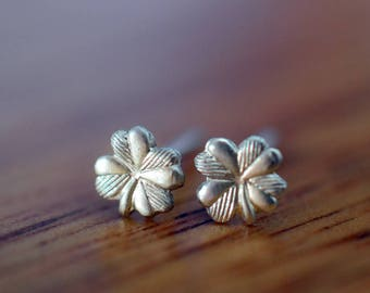Silver Clover Earrings, Lucky Four Leaf Clover Studs, Handmade Jewelry, Charms in Sterling Silver, Women's Botanical & Plant Jewelry