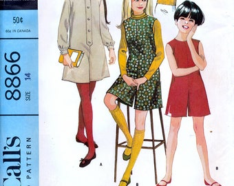 McCall's 8866 Sewing Pattern for Girls' Pantdress or Pantjumper and Blouse - Uncut - Size 14