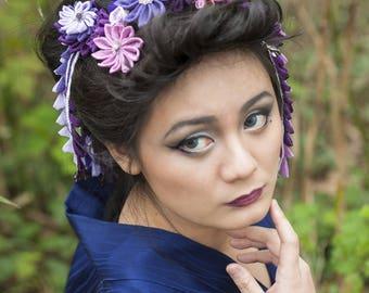 Peigne kanzashi, fleurs tsumami camaïeu de violet et rose