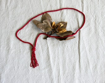 Vintage 1920's Red Glass Flapper Beaded Necklace, Art Deco, Roaring Twenties, Jewelry