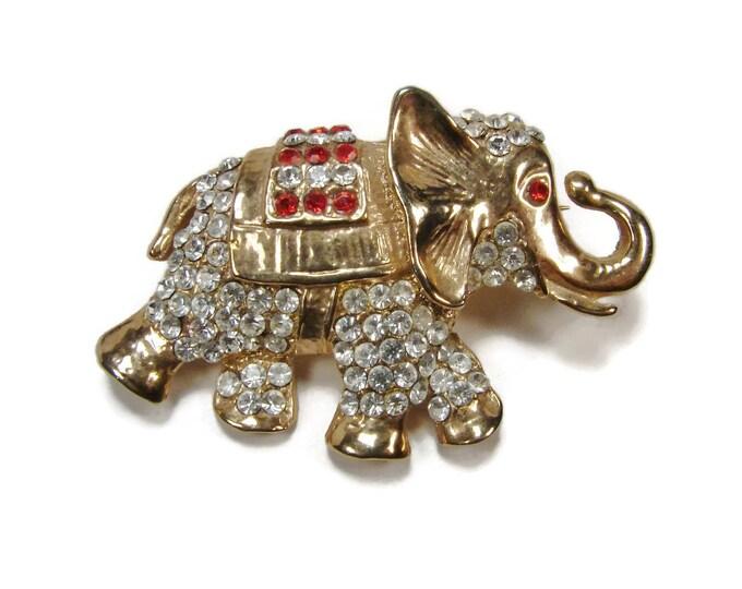 Vintage Pave Rhinestone Elephant Brooch